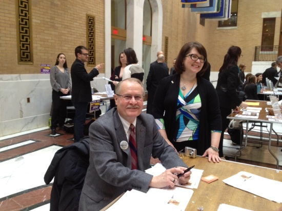 Healthy Workplace Bill advocates Greg Sorozan and Lisa Smith (photo: DY)
