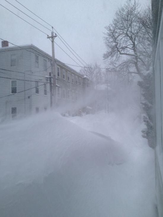 Looking down my street at what is supposed to be the sidewalk, during one of the February blizzards, Jamaica Plain, Boston. (Photo: DY, 2015)