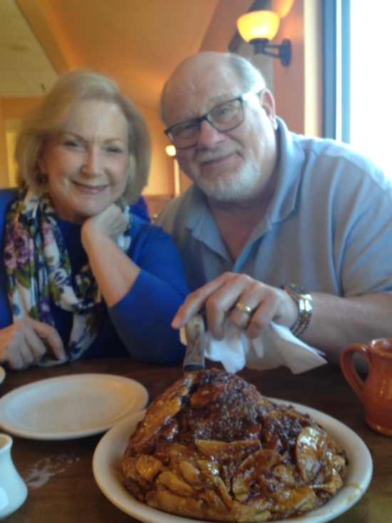 Sharing a humongous apple pancake with Drs. Gary and Ruth Namie