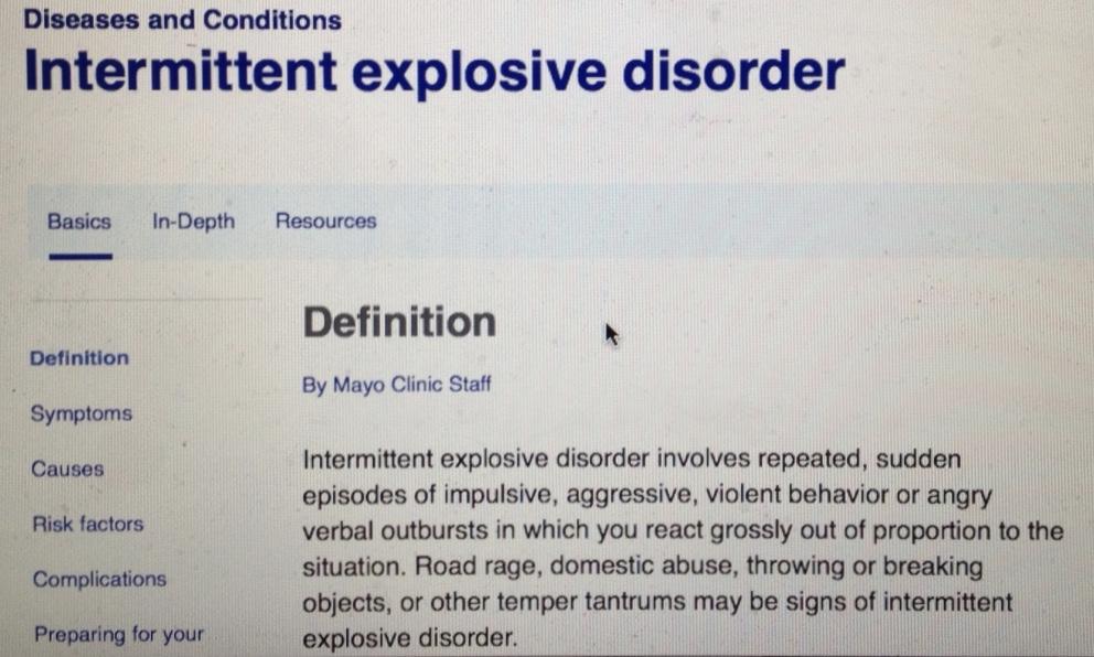 """Rage-aholic"" behavior and intermittent explosive disorder ..."