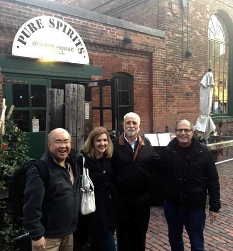 Outside the restaurant, awaiting a final group dinner. L to R, DY with Profs. Shelley Kierstead, Michael Perlin, and David Wexler
