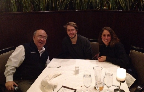 Enjoying post-filming dinner with Nathalie Berger and Leo David Hyde
