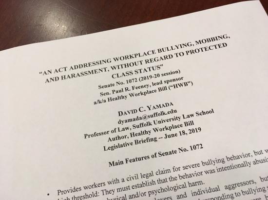 Legislative briefing for Massachusetts Healthy Workplace Bill, June 18