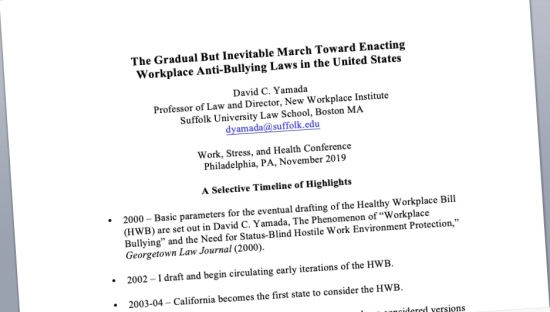 """Presented in Philly: """"The Gradual But Inevitable March Toward Enacting Workplace Anti-Bullying Laws in the United States"""""""