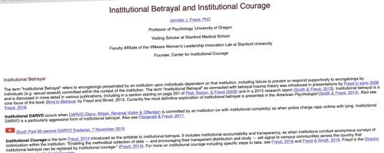 Workplace bullying & mobbing: Applying Jennifer Freyd's framework of institutional betrayal vs. institutional courage