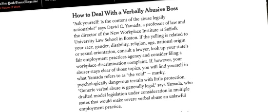 """New York Times Magazine: """"How to Deal With a Verbally Abusive Boss"""""""