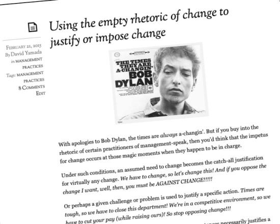 Roundup: On organizational change rhetoric, strategic planning, and consultants