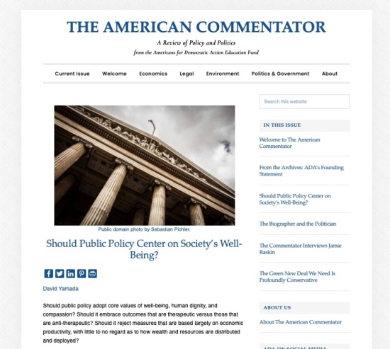 """New article: """"Should Public Policy Center on Society's Well-Being?"""""""